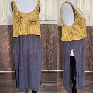 Free People Tops - Free People gray yellow side slit top knit size M